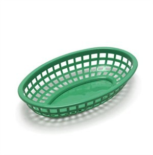 "TableCraft 1074G Green Classic Plastic Oval Basket 9-3/8"" x 6"" x 1-7/8"""