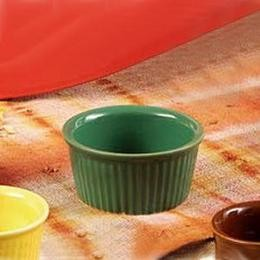 CAC China RKF-3 GREEN Green Fluted Ramekin 3 oz.