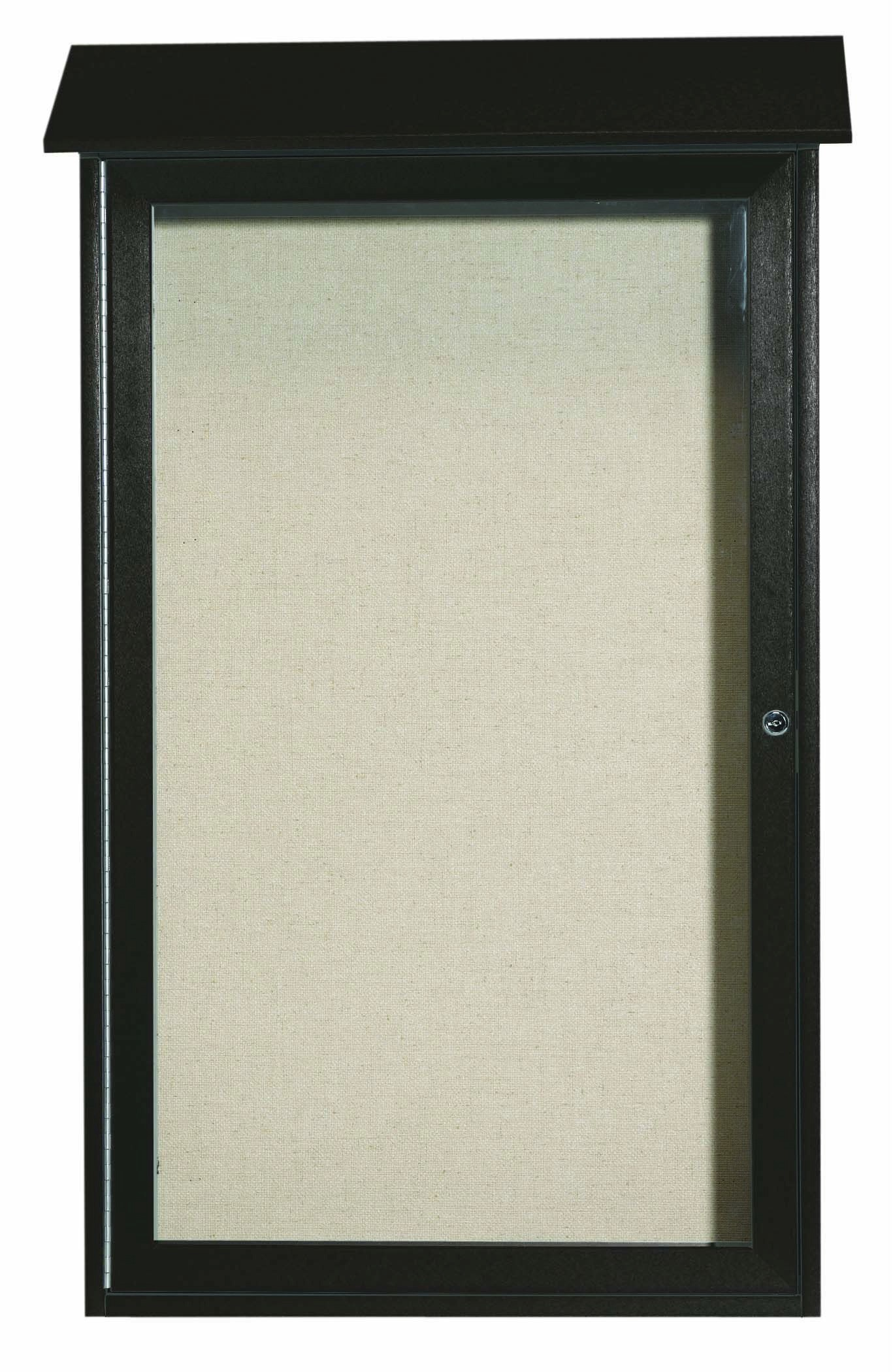 Green Single Hinged Door Plastic Lumber Message Center with Vinyl Posting Surface- 42