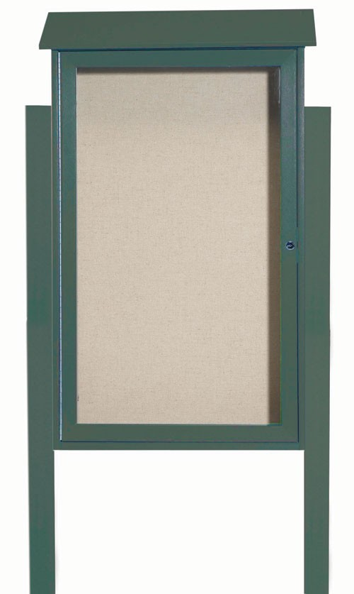Green Single Hinged Door Plastic Lumber Message Center with Vinyl Posting Surface (Posts Included)- 42