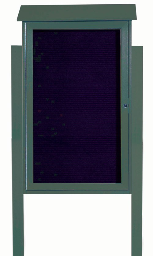 Green Single Hinged Door Plastic Lumber Message Center with Letter Board (Posts Included)-  42