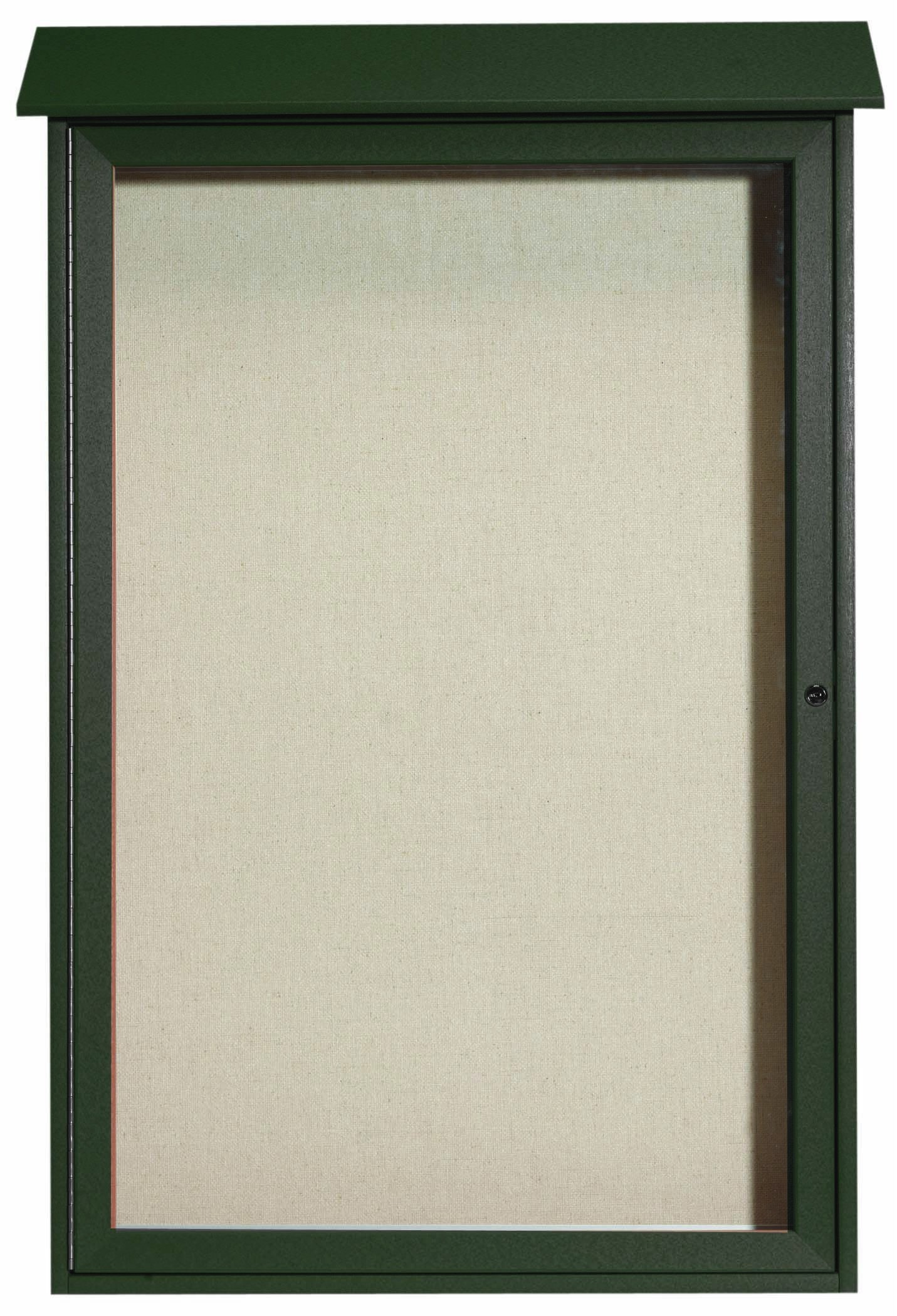 "Aarco Products PLD4832-4 Green Single Hinged Door Plastic Lumber Message Center with Vinyl Posting Surface, 48""H x 32""W"