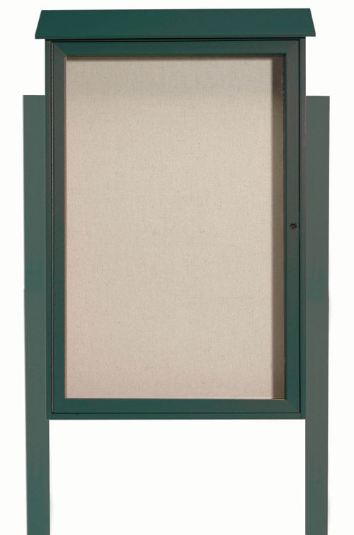 Green Single Hinged Door Plastic Lumber Message Center with Vinyl Posting Surface (Posts Included)- 48