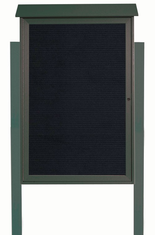 "Aarco Products PLD4832LDPP-4 Green Single Hinged Door Plastic Lumber Message Center with Letter Board (Posts Included), 48""H x 32""W"