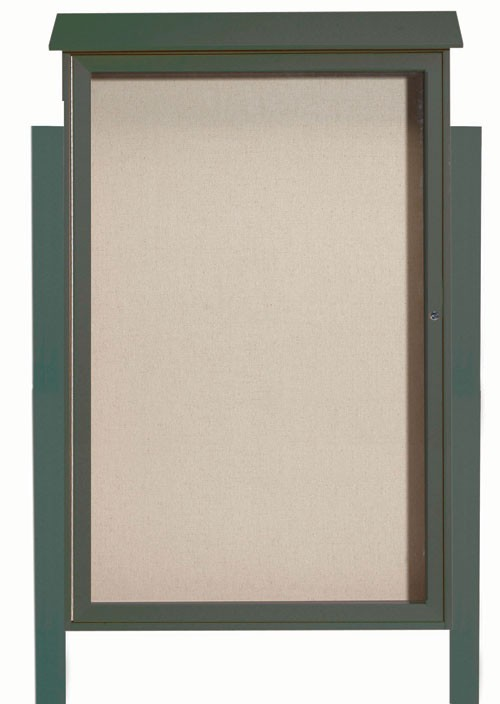 Green Single Hinged Door Plastic Lumber Message Center with Vinyl Posting Surface (Posts Included)- 54