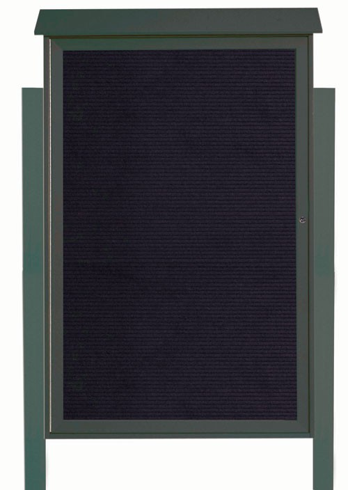 Green Single Hinged Door Plastic Lumber Message Center with Letter Board (Posts Included)- 54