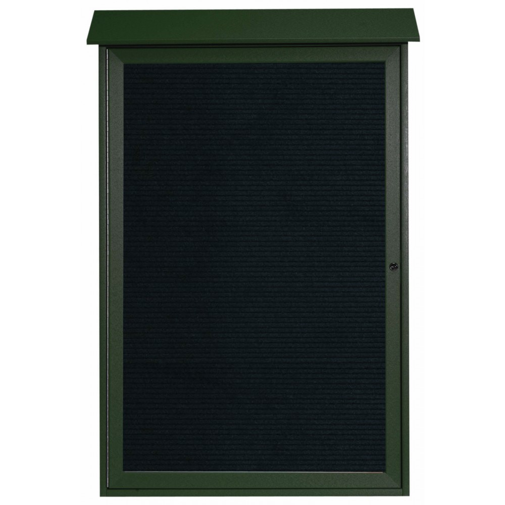 "Aarco Products PLD4832L-4 Green Single Hinged Door Plastic Lumber Message Center with Letter Board, 48""H x 32""W"