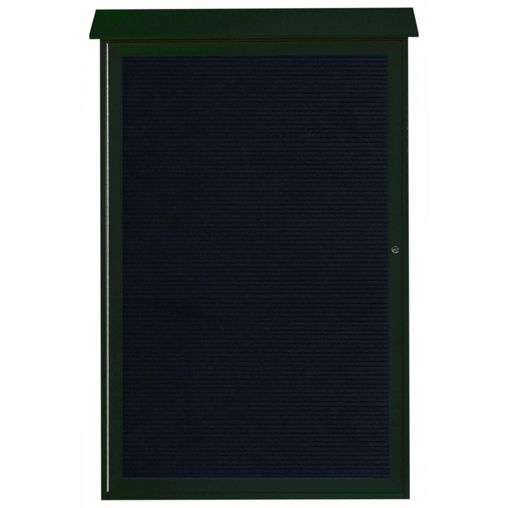 "Aarco Products PLD5438L-4 Green Single Hinged Door Plastic Lumber Message Center with Letter Board, 54""H x 38""W"