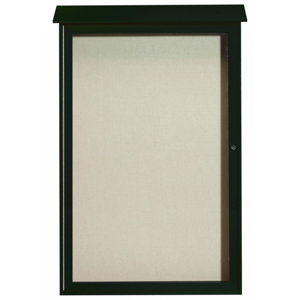 "Aarco Products PLD5438-4 Green Single Hinged Door Plastic Lumber Message Center with Vinyl Posting Surface, 54""H x 38""W"