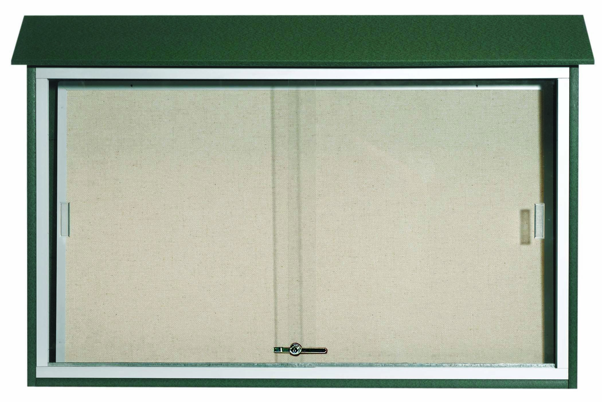 "Aarco Products PLDS3045-4 Green Sliding Door Plastic Lumber Message Center with Vinyl Posting Surface, 30""H x 45""W"