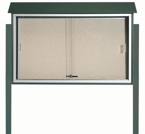 Green Sliding Door Plastic Lumber Message Center with Vinyl Posting Surface (Posts Included)- 30