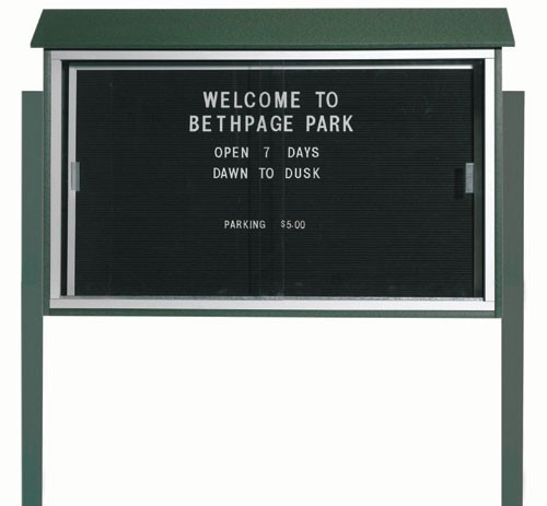 """Aarco Products PLDS3045LDPP-4 Green Sliding Door Plastic Lumber Message Center with Letter Board (Posts Included), 30""""H x 45""""W"""