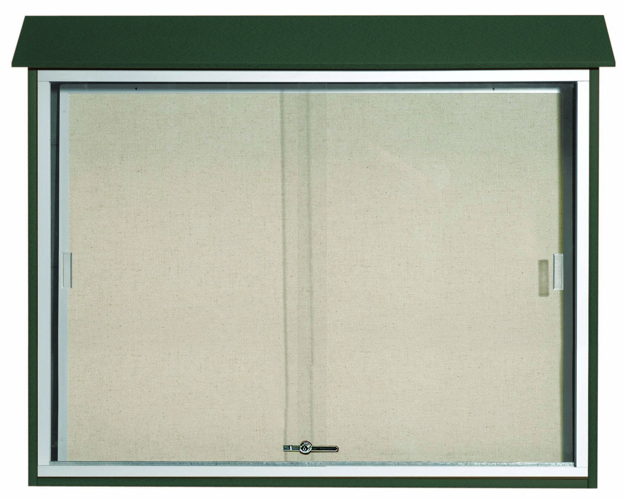 """Aarco Products PLDS3645-4 Green Sliding Door Plastic Lumber Message Center with Vinyl Posting Surface, 36""""H x 45""""W"""