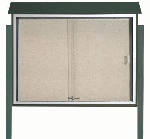Green Sliding Door Plastic Lumber Message Center with Vinyl Posting Surface (Posts Included)- 36