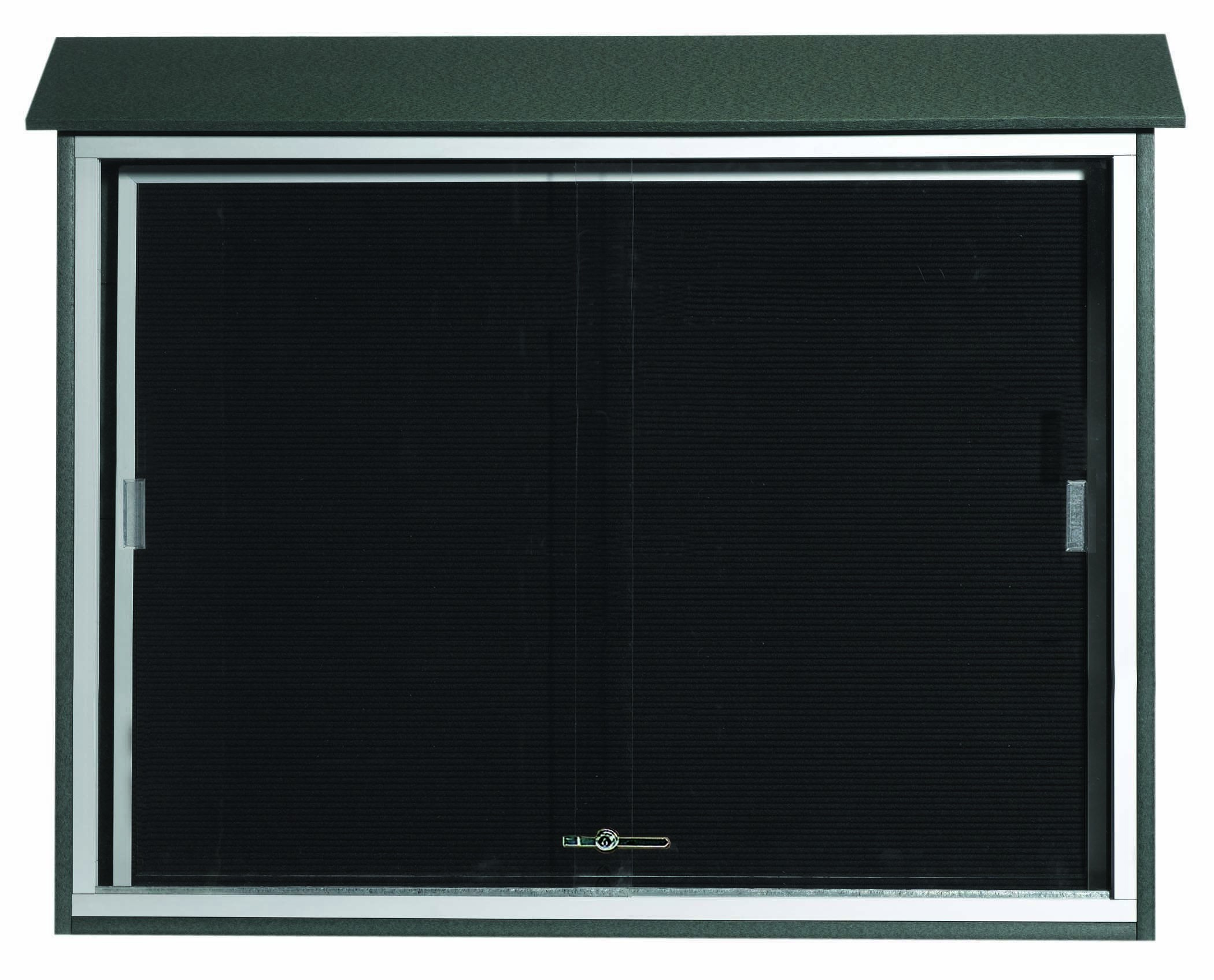 "Aarco Products PLDS3645L-4 Green Sliding Door Plastic Lumber Message Center with Letter Board, 36""H x 45""W"