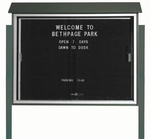 "Aarco Products PLDS3645LDPP-4 Green Sliding Door Plastic Lumber Message Center with Letter Board (Posts Included), 36""H x 45""W"
