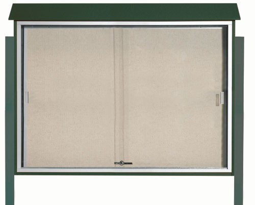 "Aarco Products PLDS4052DPP-4 Green Sliding Door Plastic Lumber Message Center with Vinyl Posting Surface (Posts Included), 40""H x 52""W"