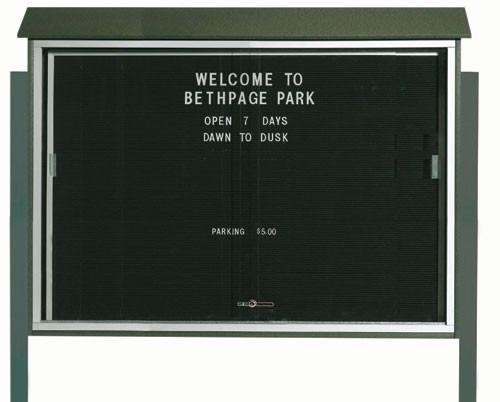 "Aarco Products PLDS4052LDPP-4 Green Sliding Door Plastic Lumber Message Center with Letter Board (Posts Included), 40""H x 52""W"