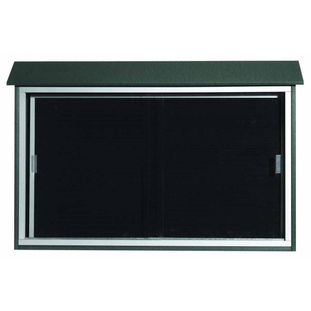 "Aarco Products PLDS3045L-4 Green Sliding Door Plastic Lumber Message Center with Letter Board, 30""H x 45""W"