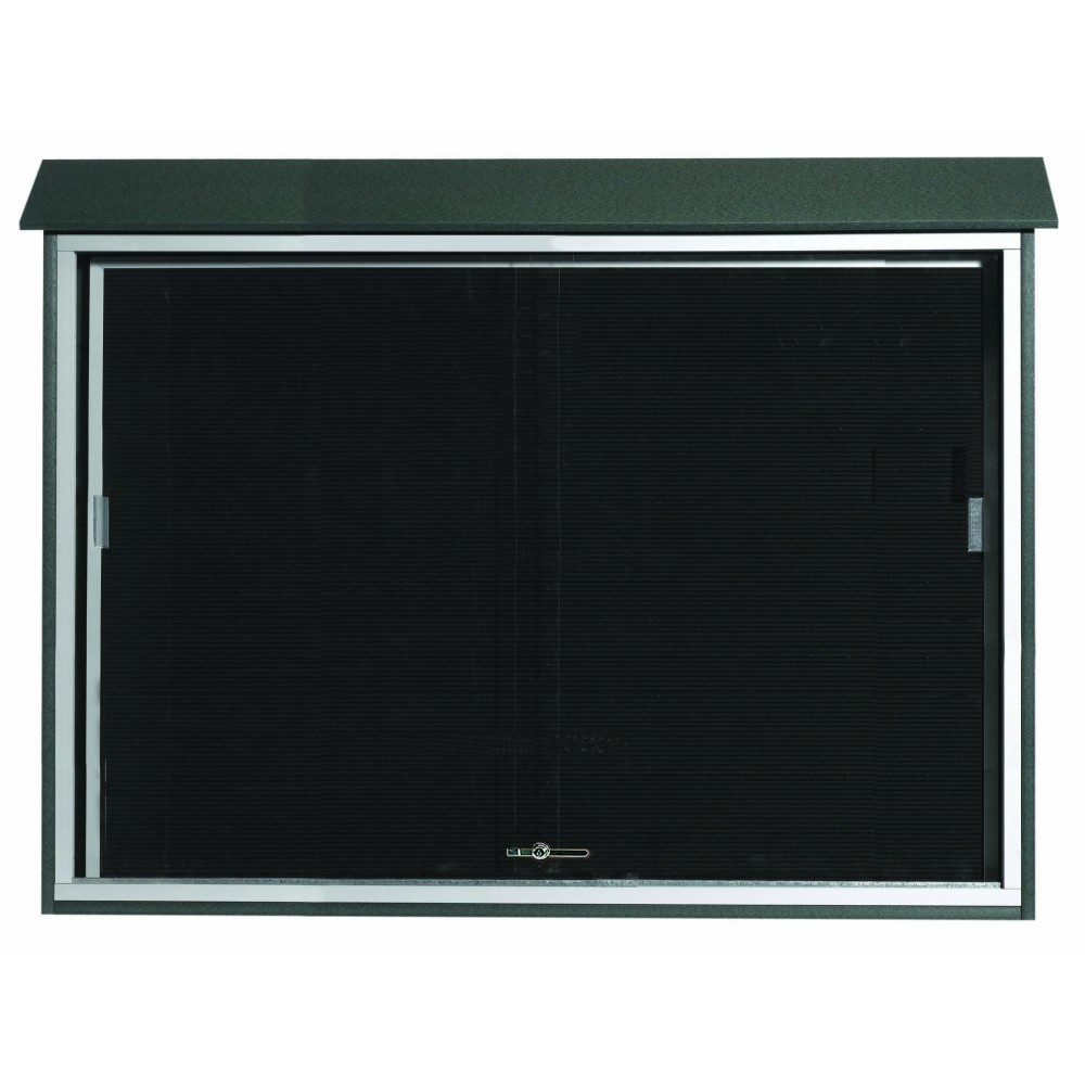 "Aarco Products PLDS4052L-4 Green Sliding Door Plastic Lumber Message Center with Letter Board, 40""H x 52""W"