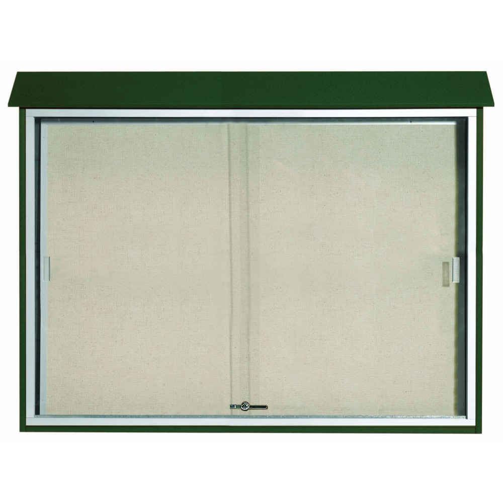 Green Sliding Door Plastic Lumber Message Center with Vinyl Posting Surface-40