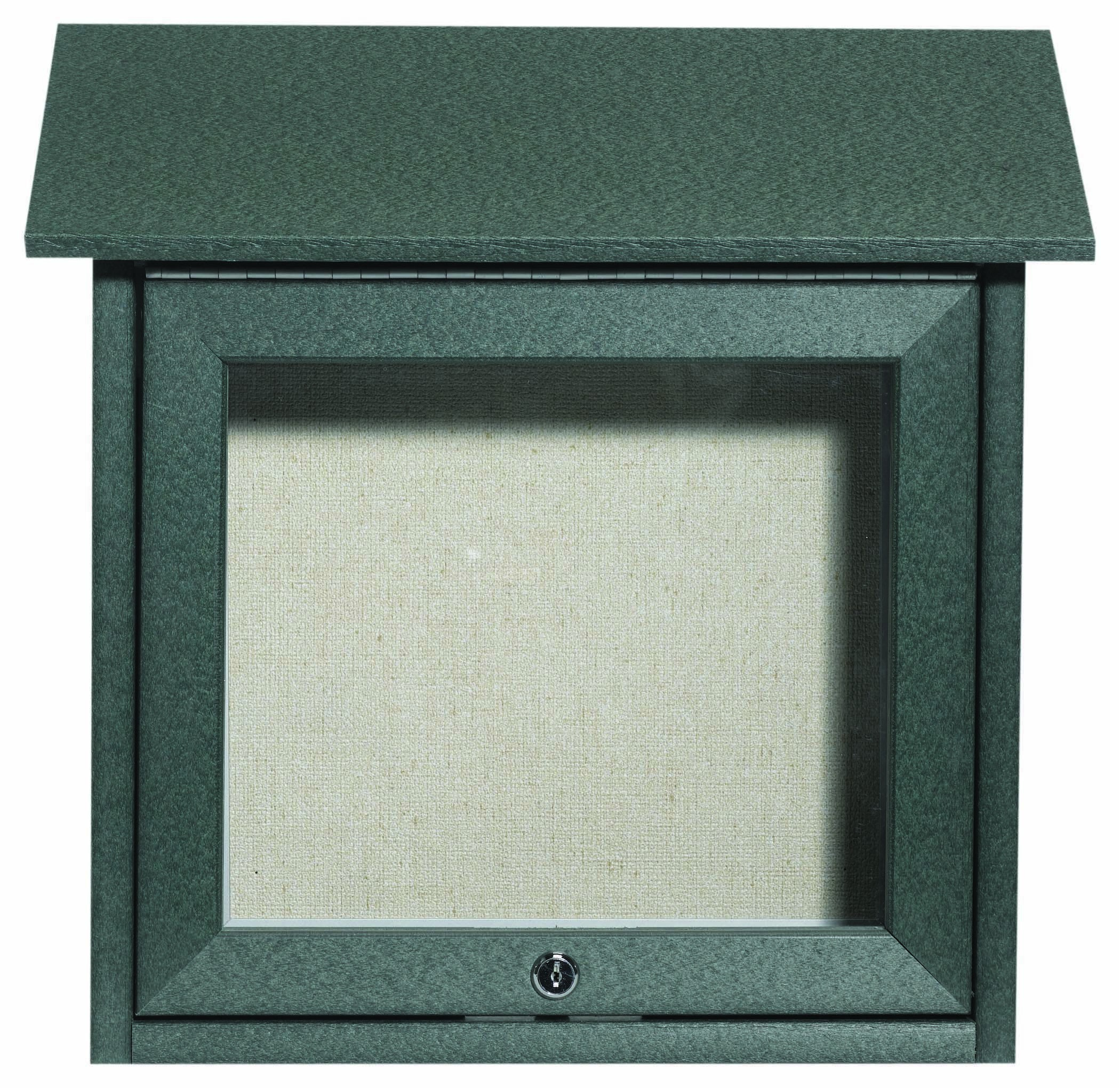 """Aarco Products OPLD1818-4 Green Slimline Series Top Hinged Single Door Plastic Lumber Message Center with Vinyl Posting Surface 18""""H x 18""""W"""