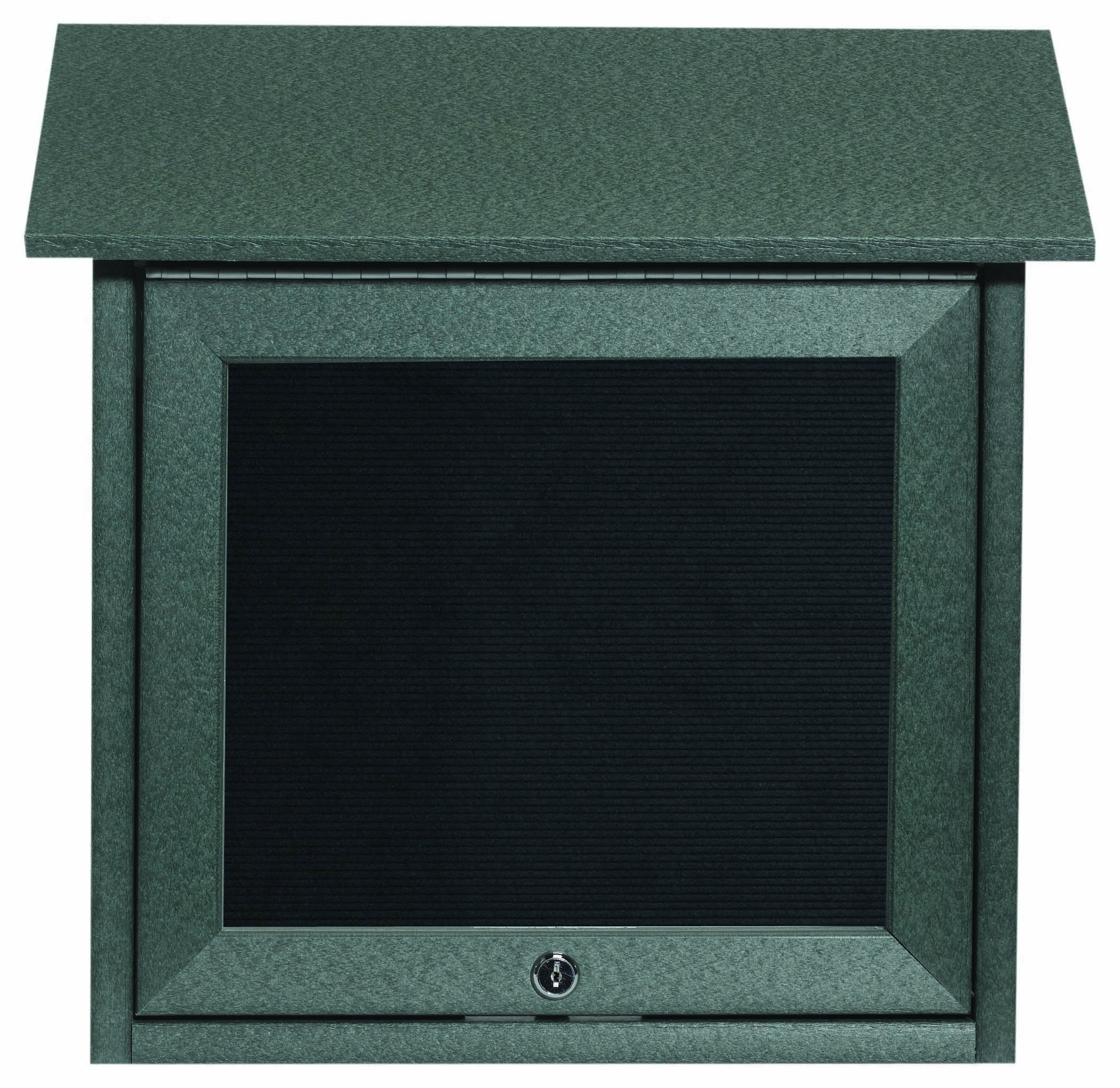 """Aarco Products OPLD1818L-4 Green Slimline Series Top Hinged Single Door Plastic Lumber Message Center with Letter Board 18""""H x 18""""W"""