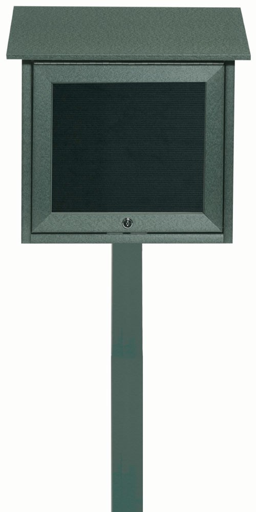 "Aarco Products OPLD1818LSPP-4 Green Slimline Series Top Hinged Single Door Plastic Lumber Message Center with Letter Board (Post Included) 18""H x 18""W"