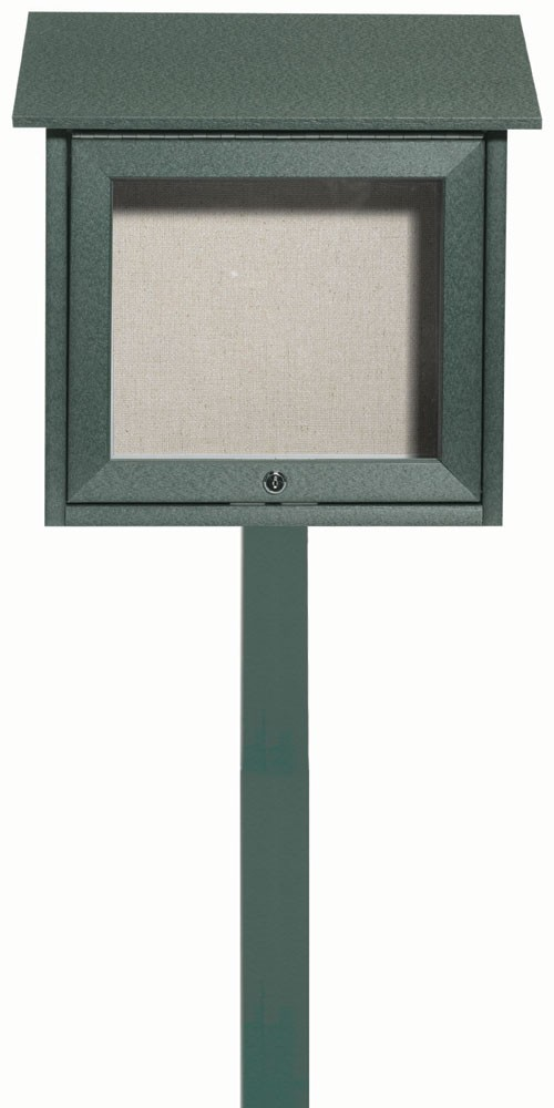 "Aarco Products OPLD1818SPP-4 Green Slimline Series Top Hinged Single Door Plastic Lumber Message Center with Vinyl Posting Surface (Post Included) 18""H x 18""W"