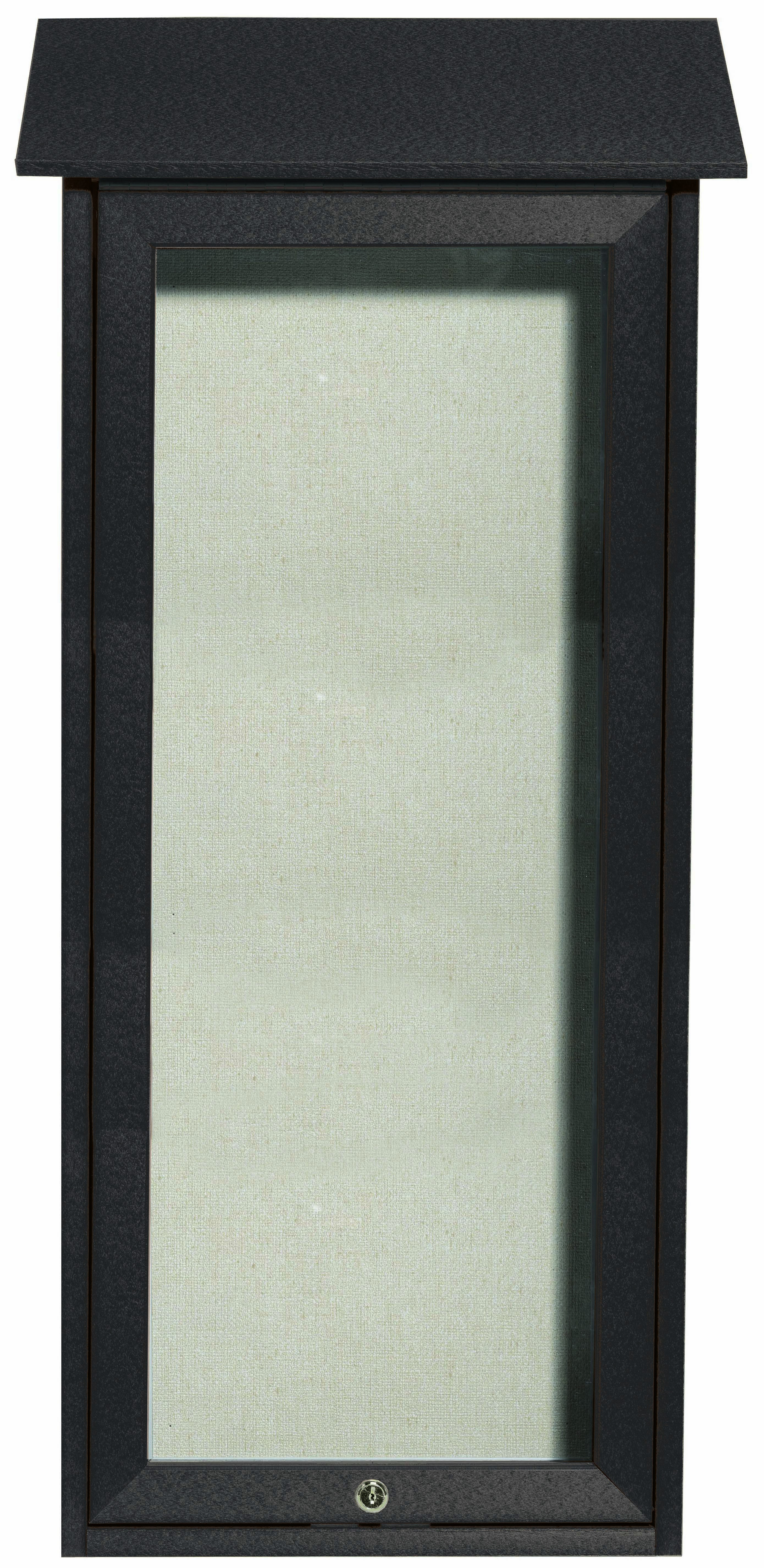"""Aarco Products OPLD3416-4 Green Slimline Series Top Hinged Single Door Plastic Lumber Message Center with Vinyl Posting Surface-34""""H x 16""""W"""