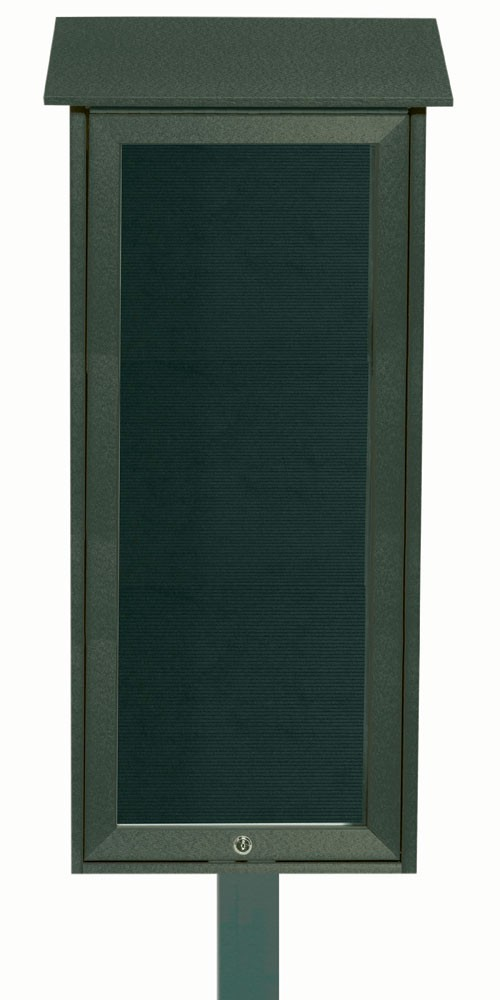 Green Slimline Series Top Hinged Single Door Plastic Lumber Message Center with Letter Board (Post Included)-34
