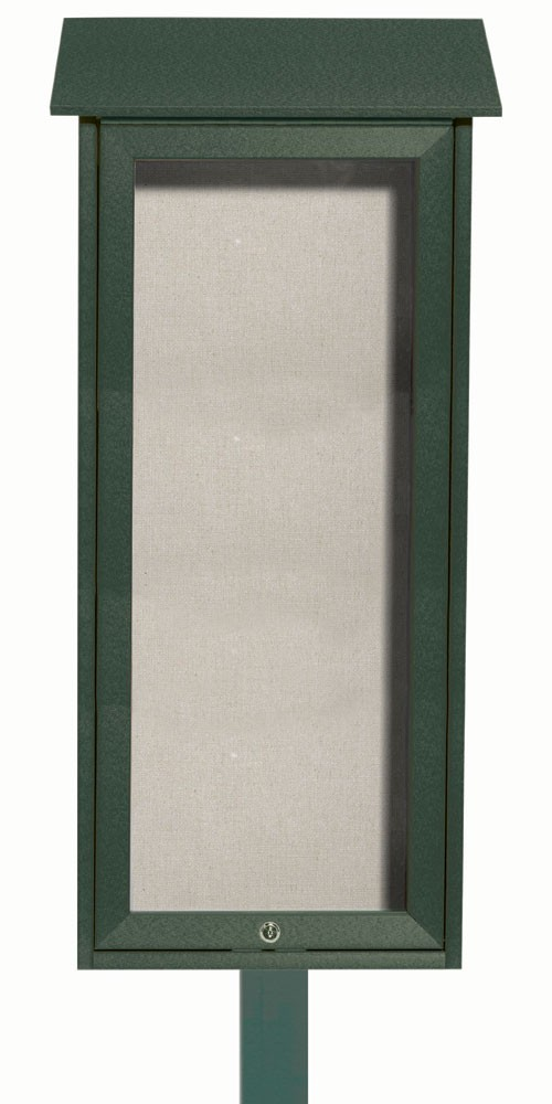 "Aarco Products OPLD3416SPP-4 Green Slimline Series Top Hinged Single Door Plastic Lumber Message Center with Vinyl Posting Surface (Post Included) 34""H x 16""W"