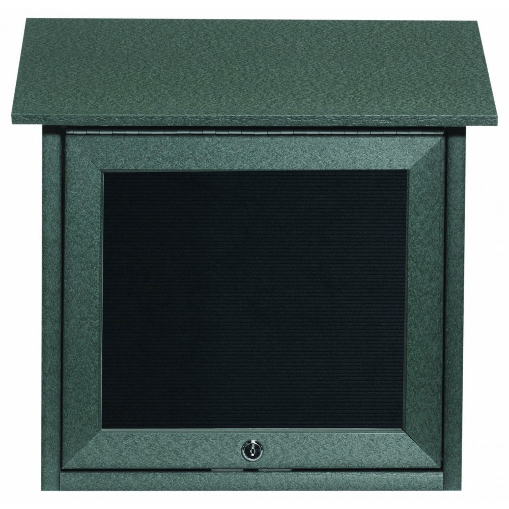 Green Slimline Series Top Hinged Single Door Plastic Lumber Message Center with Letter Board-18