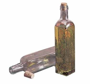 Green Tint Square Glass 16 Oz. Corked Prima Olive Oil Bottle