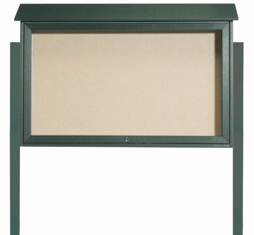 "Aarco Products PLD3045TDPP-4 Green Top Hinged Single Door Plastic Lumber Message Center with Vinyl Posting Surface (Posts Included), 30""H x 45""W"