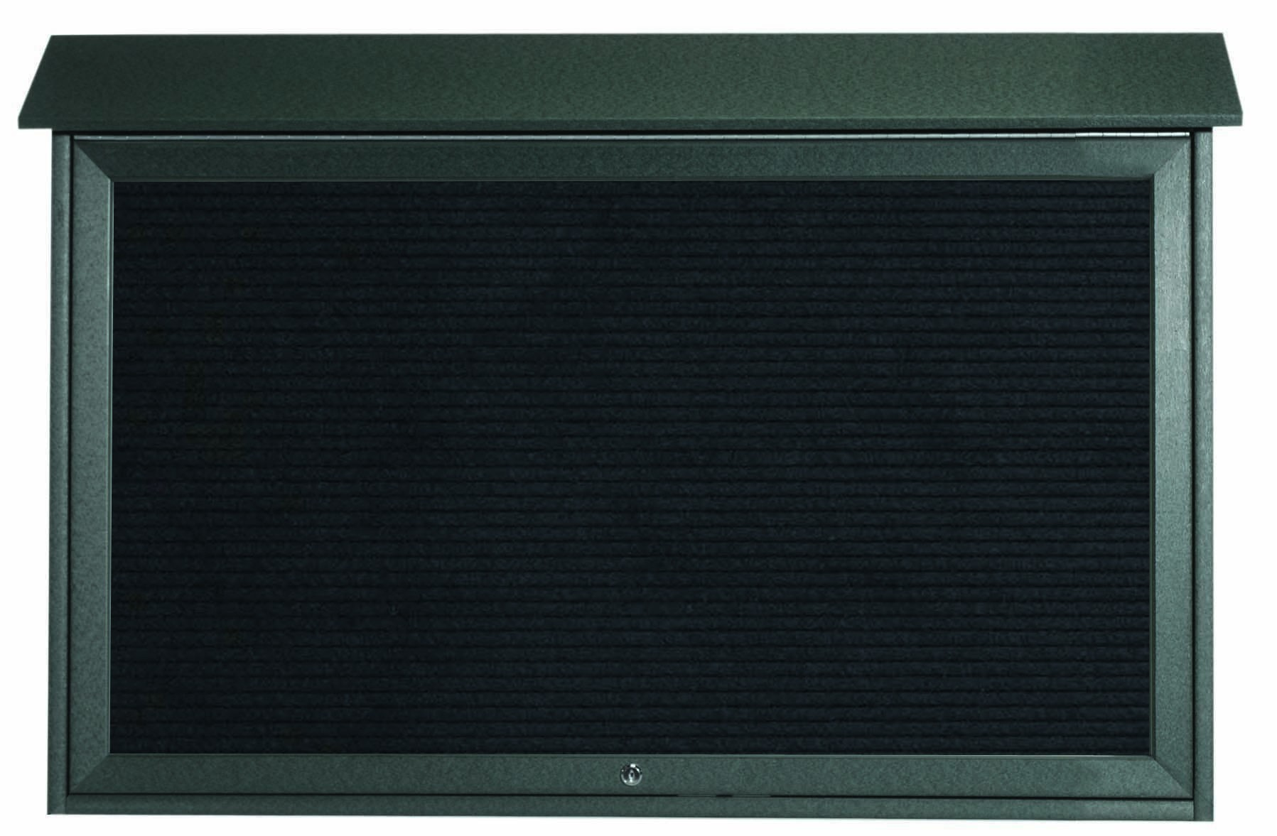 "Aarco Products PLD3045TL-4 Green Top Hinged Single Door Plastic Lumber Message Center with Letter Board, 30""H x 45""W"