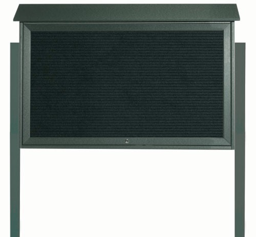 Green Top Hinged Single Door Plastic Lumber Message Center with Letter Board (Posts Included)-30