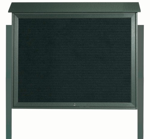 Green Top Hinged Single Door Plastic Lumber Message Center with Letter Board (Posts Included)- 36