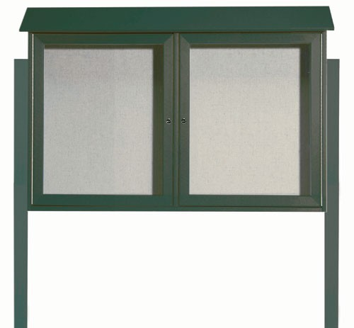Green Two Door Hinged Door Plastic Lumber Message Center with Vinyl Posting Surface (Posts Included)- 30