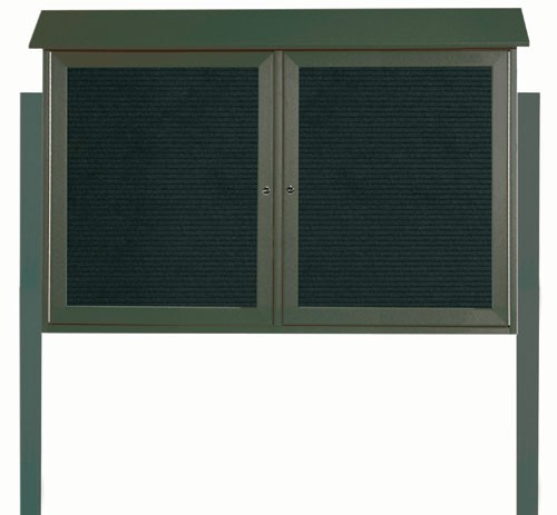 "Aarco Products PLD3045-2LDPP-4 Green Two Door Hinged Door Plastic Lumber Message Center with Letter Board (Posts Included), 30""H x 45""W"