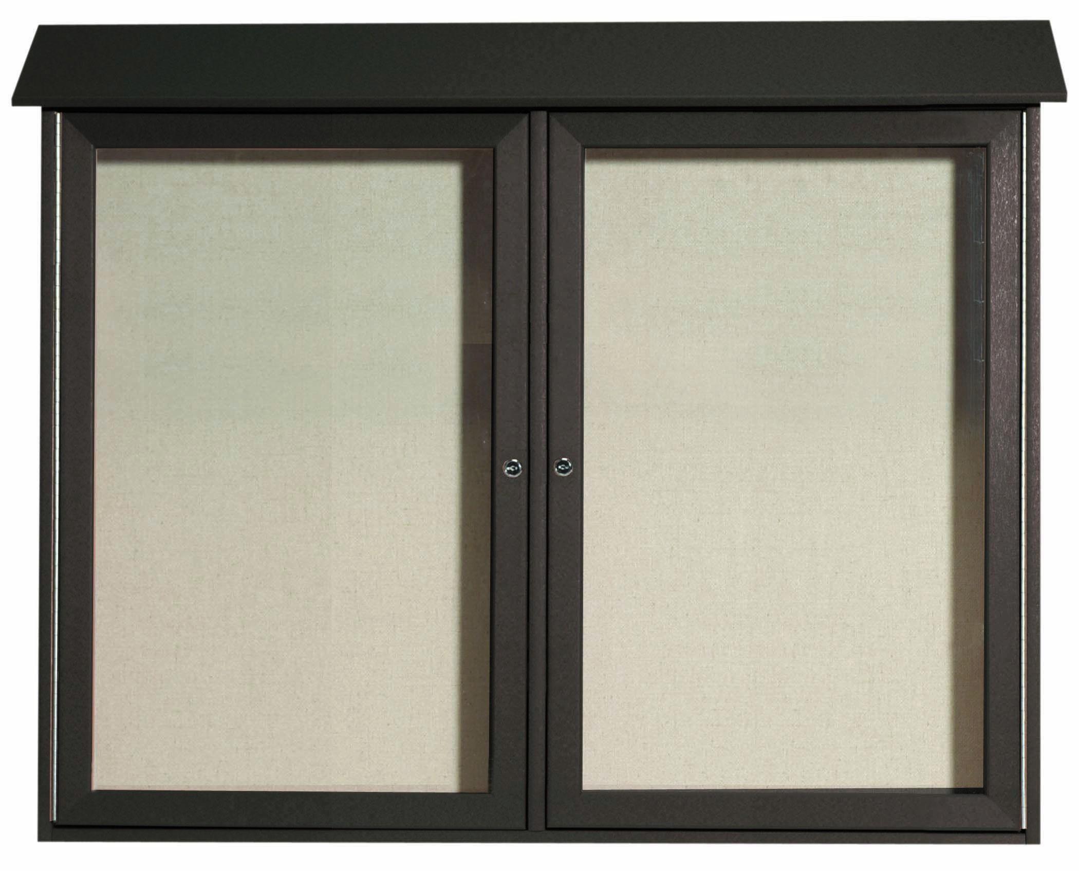 Green Two Door Hinged Door Plastic Lumber Message Center with Vinyl Posting Surface-  36