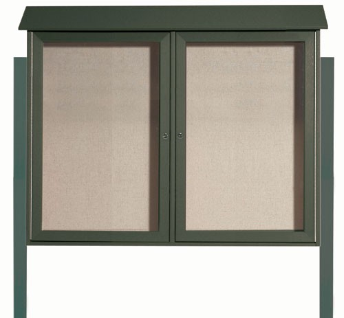 Green Two Door Hinged Door Plastic Lumber Message Center with Vinyl Posting Surface (Posts Included)- 36