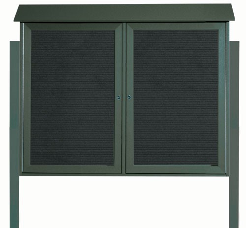 "Aarco Products PLD3645-2LDPP-4 Green Two Door Hinged Door Plastic Lumber Message Center with Letter Board (Posts Included), 36""H x 45""W"