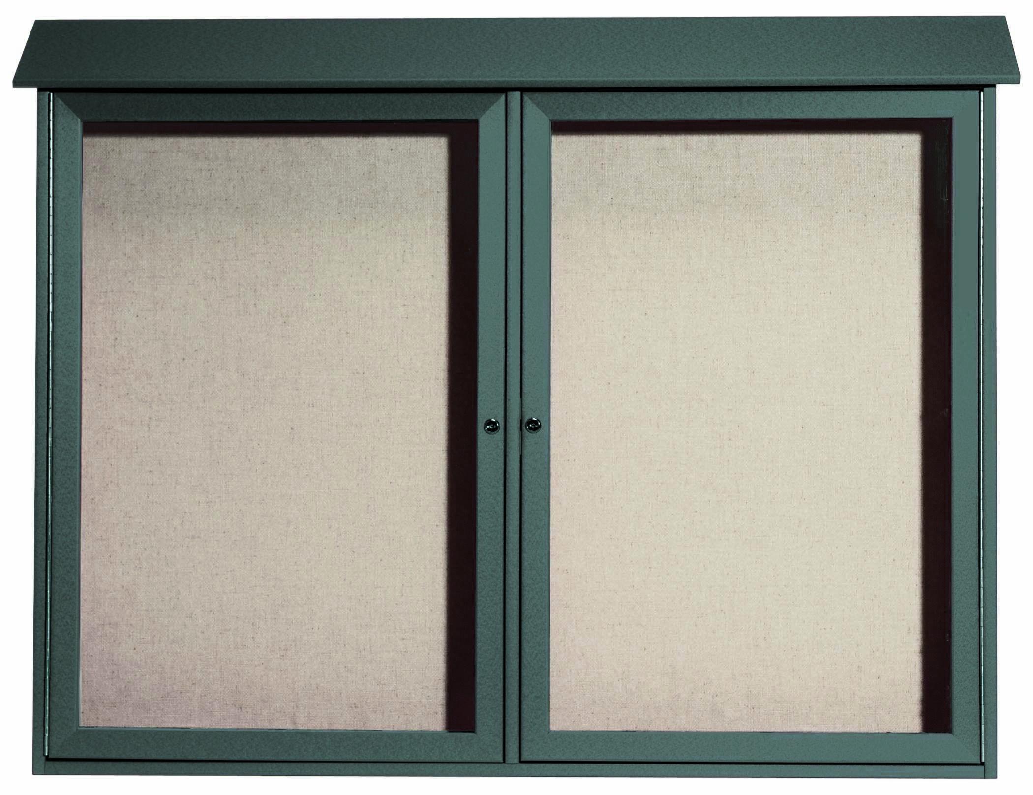 """Aarco Products PLD4052-2-4 Green Two Door Hinged Door Plastic Lumber Message Center with Vinyl Posting Surface, 40""""H x 52""""W 2 Door"""