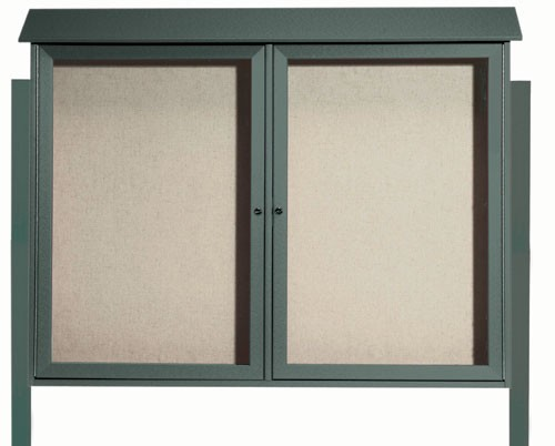 "Aarco Products PLD4052-2DPP-4 Green Two Door Hinged Door Plastic Lumber Message Center with Vinyl Posting Surface (Posts Included), 40""H x 52""W 2 Door"