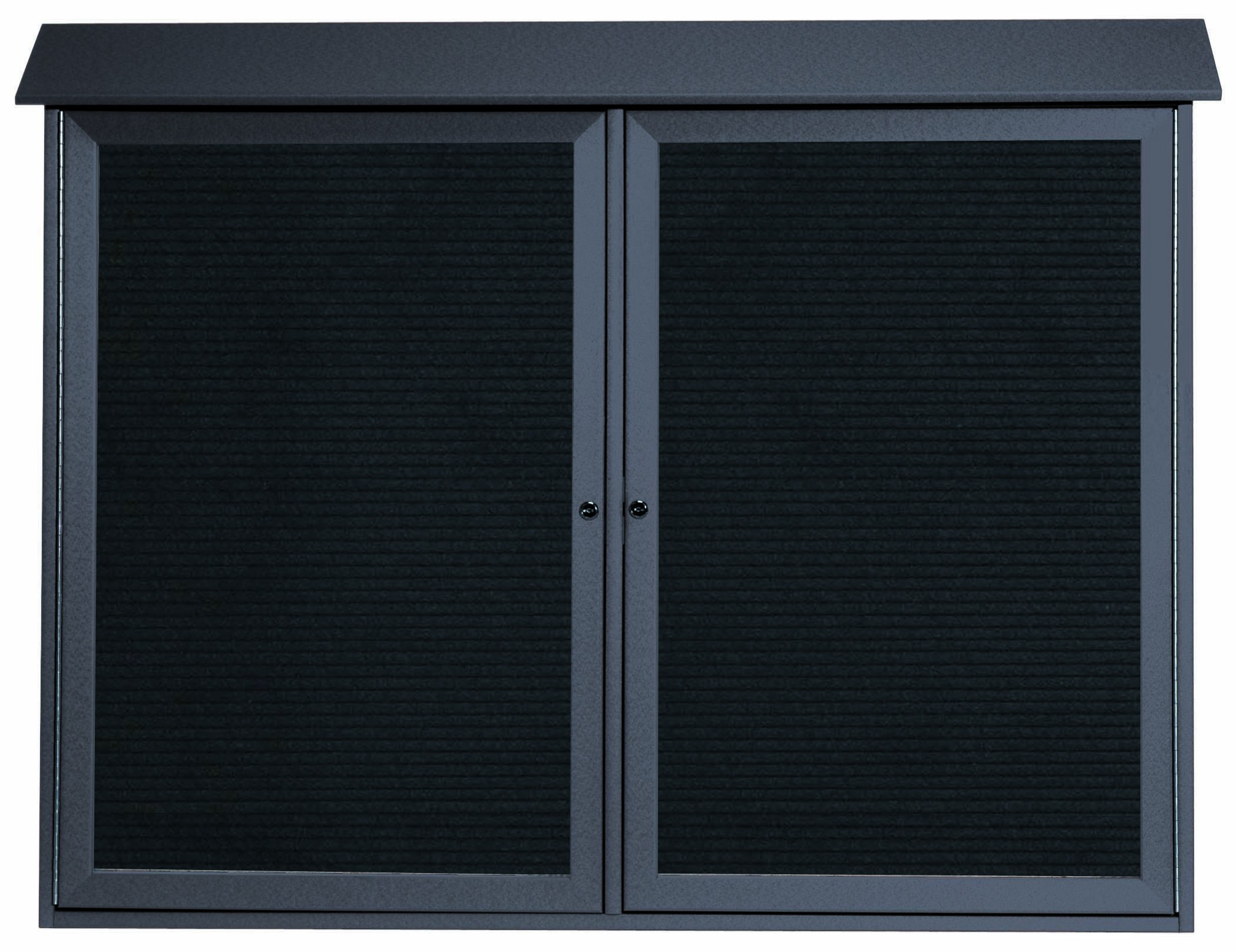 """Aarco Products PLD4052-2L-4 Green Two Door Hinged Door Plastic Lumber Message Center with Letter Board, 40""""H x 52""""W"""