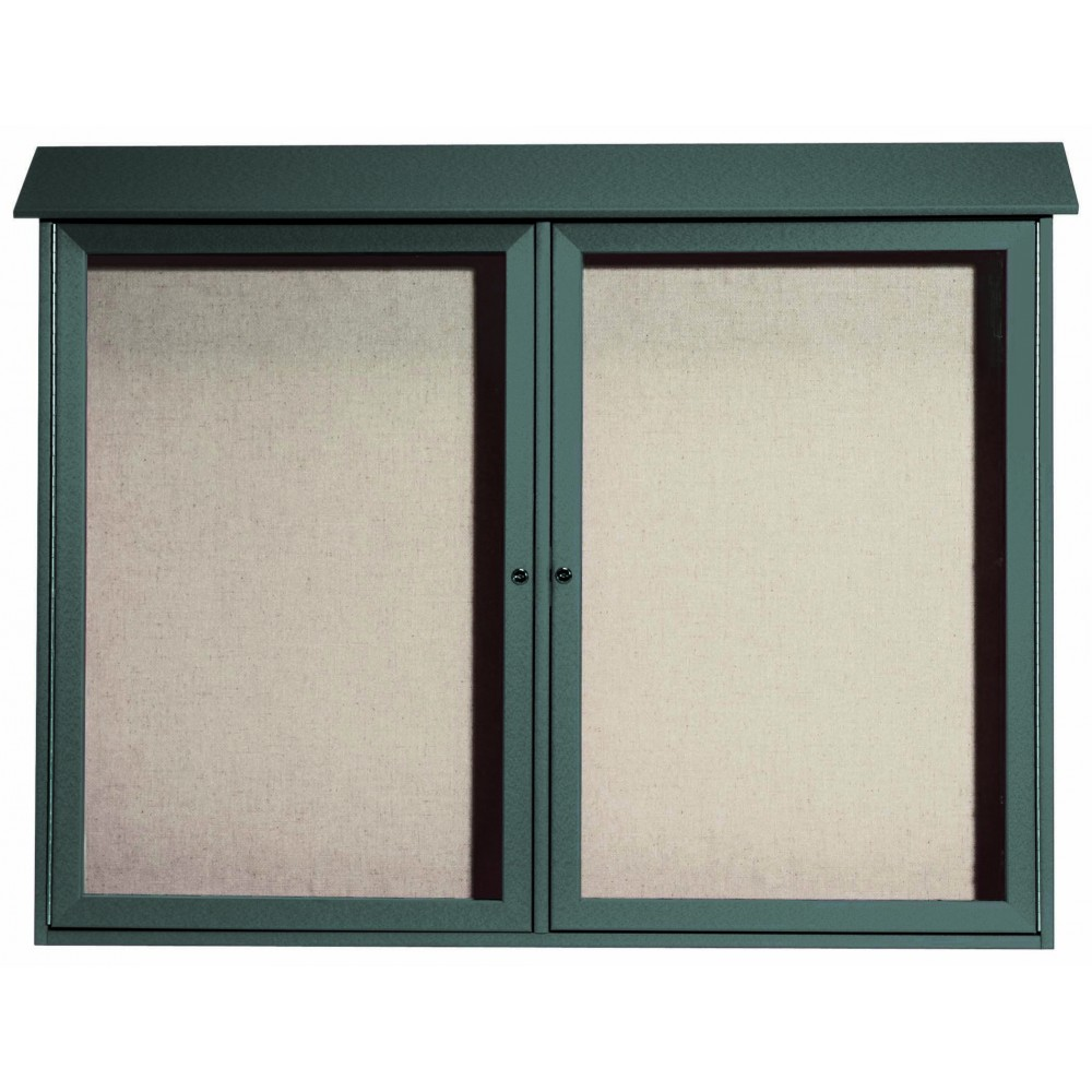 Green Two Door Hinged Door Plastic Lumber Message Center with Vinyl Posting Surface- 40