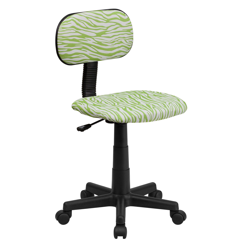 Flash Furniture BT-Z-GN-GG Green and White Zebra Print Computer Chair