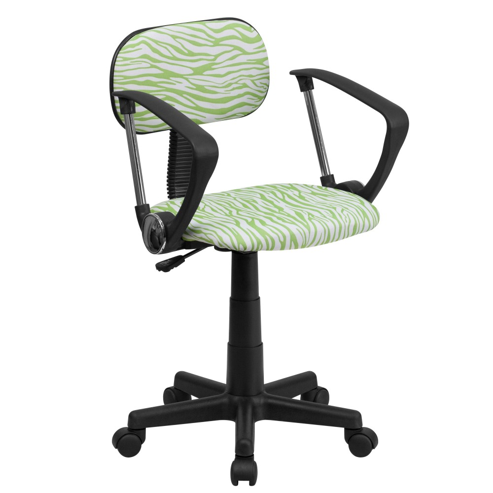 Green and White Zebra Print Computer Chair with Arms