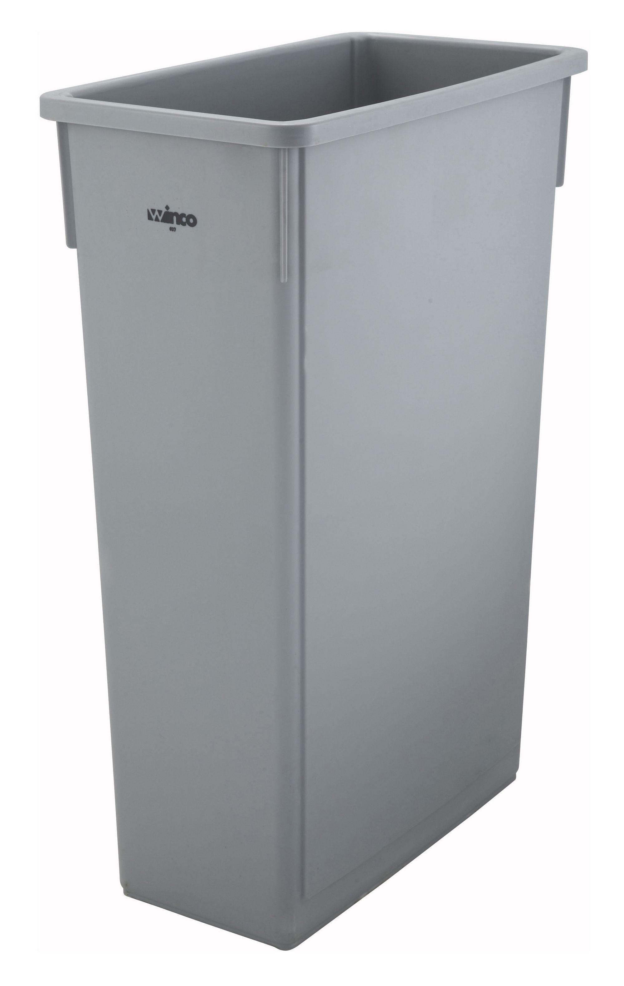 Winco PTC-23SG Grey 23 Gallon Slender Trash Can